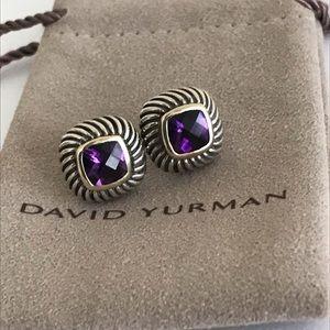David Yurman Classic Amethyst Cable Earrings